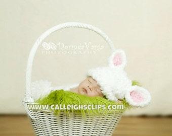 White Fluffy Bunny Rabbit Cuddle Critter Cape Set Newborn Photography Prop
