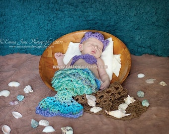 Mermaid Princess Crocodile Stitch Cuddle Critter Cape Set Newborn Photography Prop