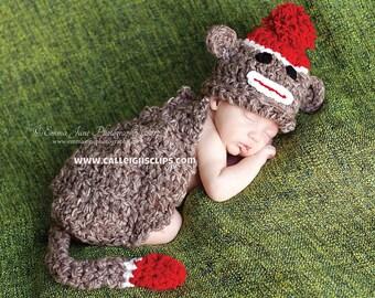 Instant Download Crochet Pattern - No 15 Sock Monkey- Cuddle Critter Cape Set  - Newborn Photography Prop