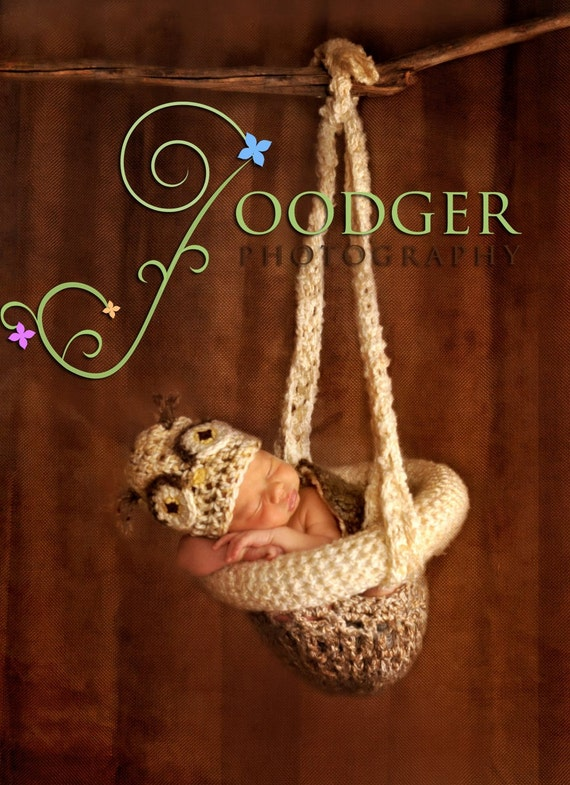 Crochet Hanging Basket Photography Prop for Newborns