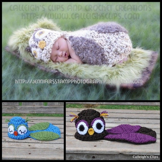 Instant Download Crochet Pattern - No. 12 - Owlette Owl - Cuddle Critter Cape Set  - Newborn Photography Prop