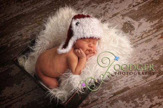 Nubby Aviator Hat  with Fluffy Trim - Red and White or customize your own color - newborn, baby, toddler sizes