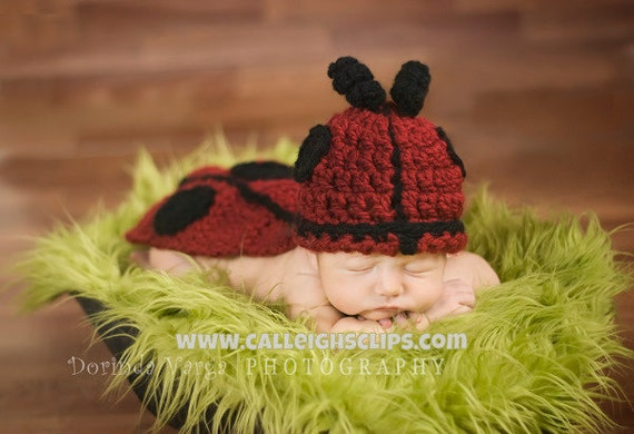 Ladybug Cuddle Critter Cape Set  Newborn Photography Prop