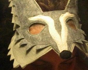 Felt Gray Wolf Mask