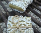 50 Wedding Favors/ all natural Soaps Wrapped in Lace / with FREE Tags - READY to SHIP - all natural, organic, eco friendly