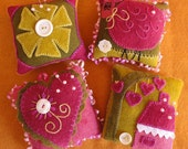 Buttons & Lace, A Pattern for 4 Wool Embroidery Pincushions