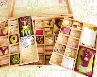 Treasure Box, A Pattern for 3 Wool Pincushions and 6 Wool Needle Cushions