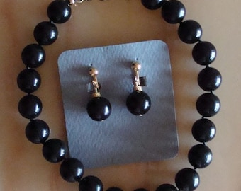 Vintage Black Beaded Choker With Matching Earrings