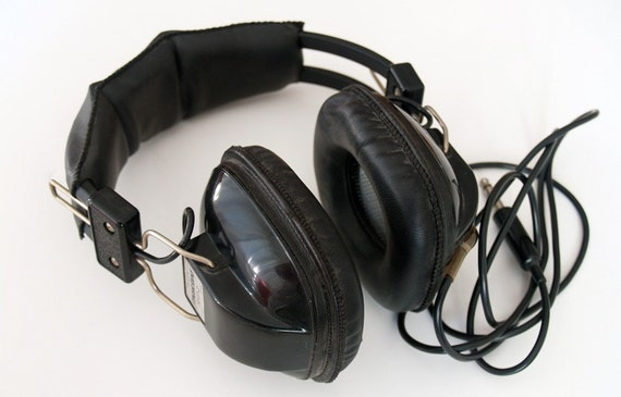 Vintage 70s Headphones with Extension Cord