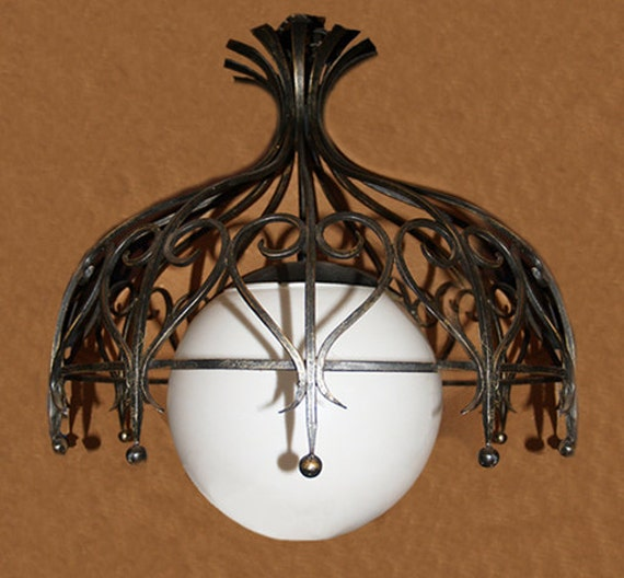 RESERVED    Sale Vintage Wrought Iron Chandelier with Globe