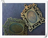 wholesale 20pcs flower filigree antique bronze pendant base 47mm x35mm oil painting frame charm hollow heart photo holder ornate oval beads