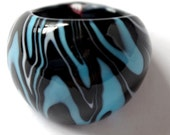 Black Turquoise White Zebra Print Hand Blown Glass Dome Ring Size 8