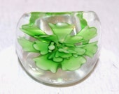 Glass Ring Hand-blown Green Clear  size 7 Artisan
