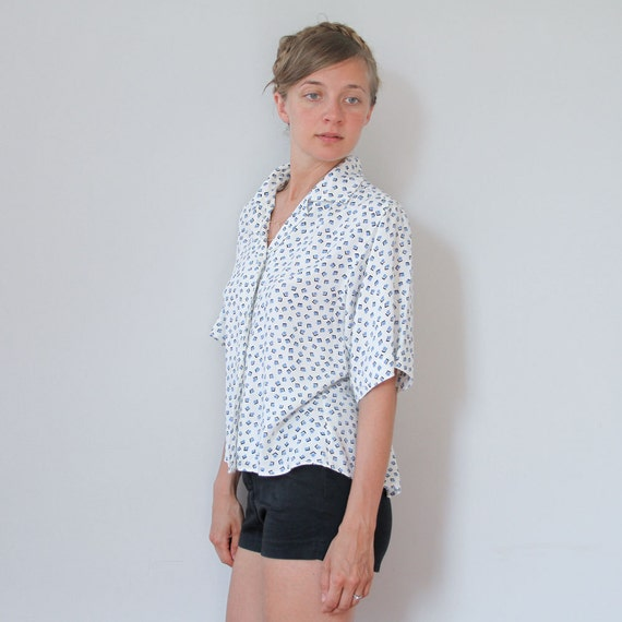 On sale 80s cropped blouse white confetti collared shirt s for Cropped white collared shirt