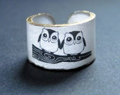 Owls in Love Ring - Choose Your Size