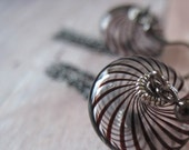 Venetian Glass Dangle Earrings with Gunmetal Chain in Black and White Stripes