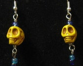 Yellow Day of the Dead Calavera Earrings - Free Shipping