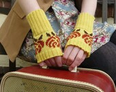 Women's Floral Yellow and Brown Fingerless Gloves, Short Arm Warmers, Wrist Warmers, Knit in Luxury Lambswool - MADE TO ORDER