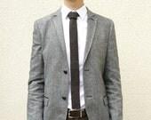 Knitted Mens Skinny Neck Tie in Flecked Coffee Bean Brown Lambswool - Groomsmen attire