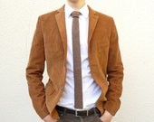 Knit Tie Skinny Necktie in Tobacco Tweed Brown Lambswool - Gift for Men Dad Boss - MADE TO ORDER