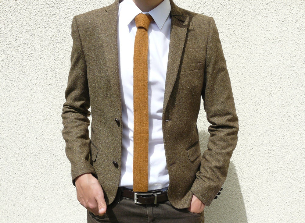 Skinny Knitted Tie In Golden Mustard Brown Lambswool Made To