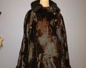 SALE 1960s Chocolate Brown Faux Fur Cape