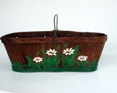Rustic Chic Storage Basket - Farmhouse Basket - Wooden Gathering Basket - Daisy Flowers Coffee Brown - Organizer Basket Art Craft Supplies