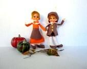 Thanksgiving Pilgrim Dolls - Bendable Pilgrim Ornaments - Autumn Harvest Decor