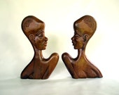 Mid Century Modern African Art - Large Tribal African Busts Wooden Sculptures