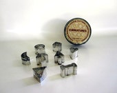 Cookie Cutters - Mini Bisquit Cutters in Metal Box - Dog Biscuit Cutters - Canape Appetizer Hors D'oeurve Cutters