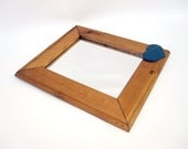 """Rustic Country Mirror with Blue Heart - Wood Framed Wall Mirror - Large Mirror 14"""" x 12"""" Farmhouse Decor"""