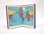 Mid Century Travel Diary - Travel Journal Log Book - Trip Diary with Maps - Royal Blue and Gold World Travel Book Trip Log