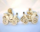 Romantic Victorian Couple Pair - Chalkware Decor - Ivory White Cream and Gold
