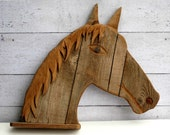 Horse Art Decor - Barnwood Shelf - Rustic Wood Shelf - Primitive Decor - Horse Wall Decoration