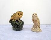 Owl Figurines - Two Owls - Mustard Yellow Brown Beige - Miniature Owls