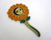Sunflower Mirror - Handheld Folk Art Mirror - Girls Mirror