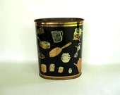 Retro Kitchen Trash Can - Waste Basket with Utensil Motif - Waste Bin