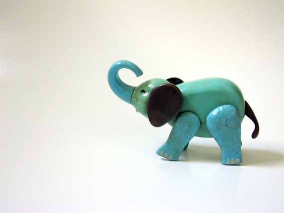 Turquoise Toy Baby Elephant Aqua Blue Mint Green Movable