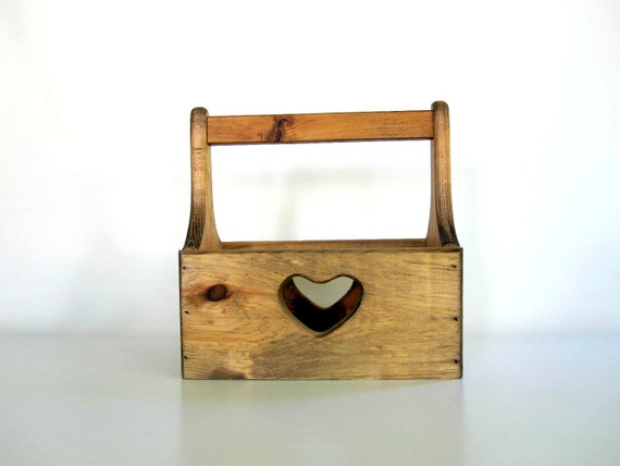 Tote Box Tool Box - Wooden Garden Crate - Storage Box - Rustic Heart Box - Organizer Box