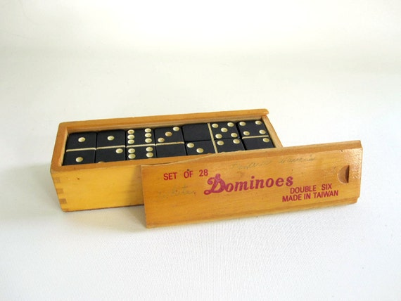 For Him - Toy Game Dominos in Wooden Box - Game For Him For Guys For Dad - Dominoes Game