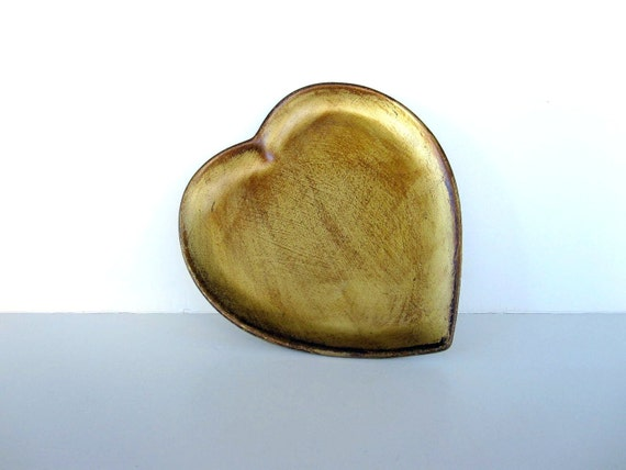 Valentine Heart Plate - Ceramic Heart Dish - Gold and Brown - Art Pottery Made in Italy