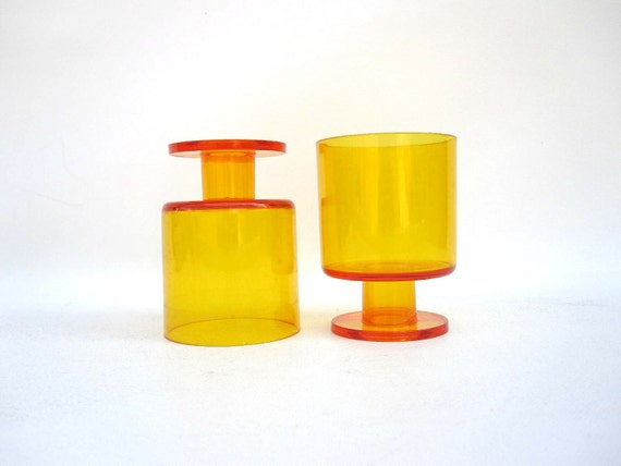 Yellow Tumbler Glasses - Stackable Plastic Cups - by Georges Briard 1970s - Set of Two Stemmed Glasses