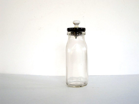 Milk Bottle with Wood Lid and Glass Knob - Farmhouse Decor - Clear Glass Container