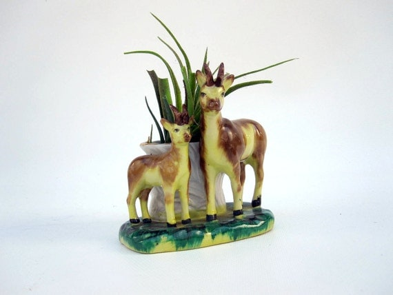 Vintage Woodland Deer Planter - Yellow Green Brown
