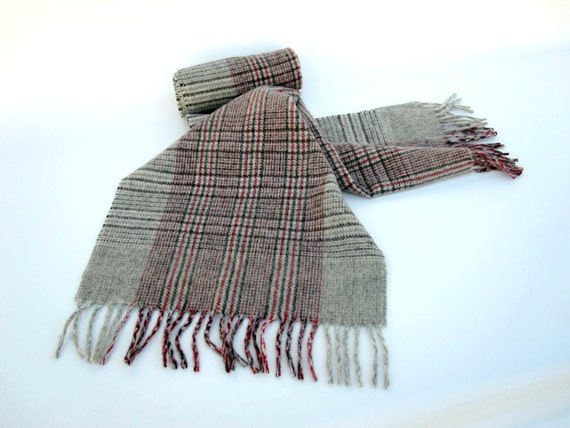 Cashmere Scarf - Gray Red Black Plaid Scarf - 100 Percent Cashmere made in Germany - Unisex Scarf - Winter Fashion