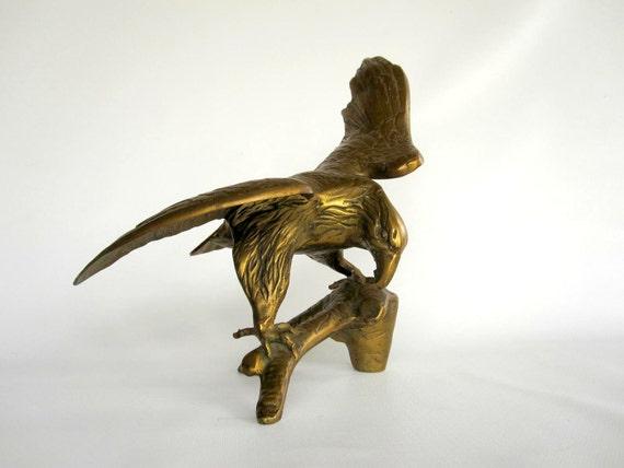 Large Brass Eagle Figurine - Patriotic Bird Statue - Mid Century Sculpture - Americana Figure Office Library Decor for Him