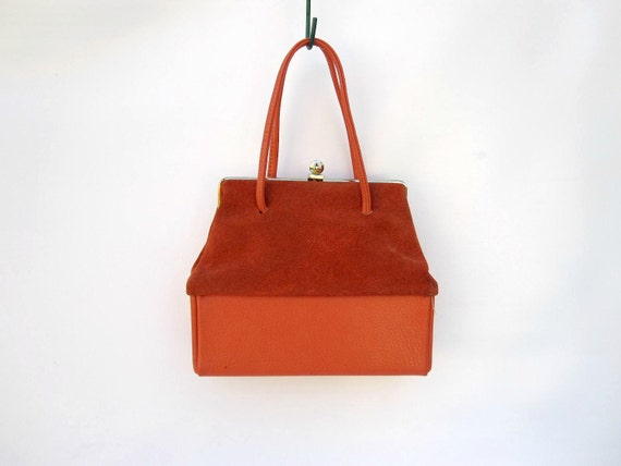Autumn Orange Purse - Suede Handbag - Yellow Interior 1960s Bag