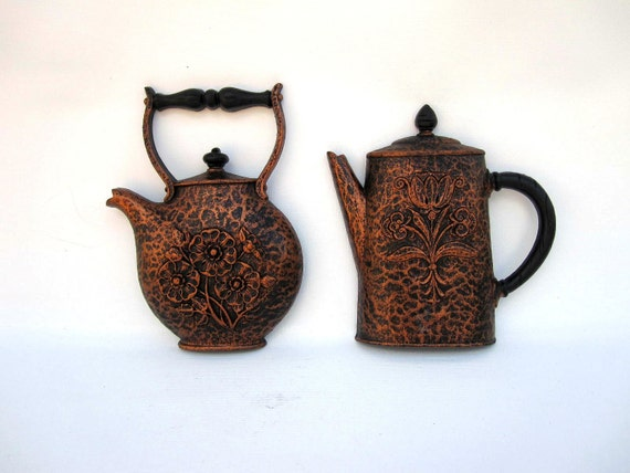 Farmhouse Kitchen Decor - Rustic Coffee Pot and Tea Kettle Wall Hanging - Copper Red Brown