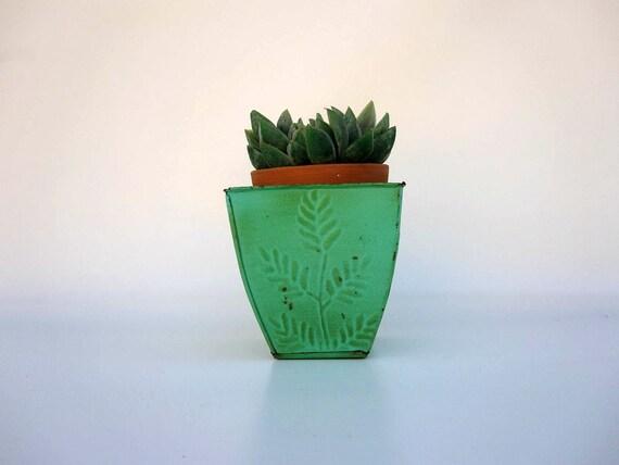 Turquoise Green Planter Box - Tin Vase - Cottage Chic Decor - Rustic Aqua Garden Pot