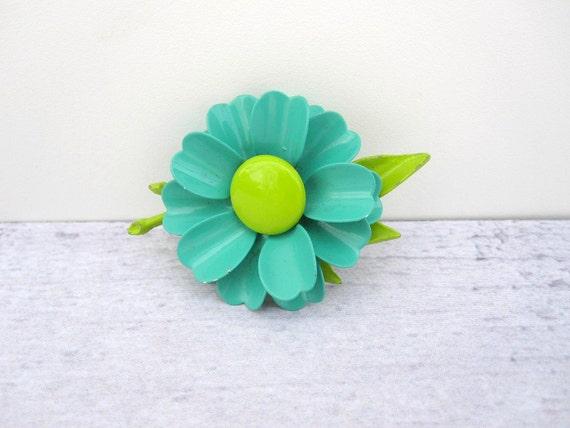 Turquoise Lime Green Enamel Flower Brooch - 1960s Spring Flower Mod Pin